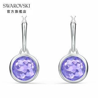 【SWAROVSKI 施華洛世奇】Tahlia 白金色典雅紫水晶穿孔耳環