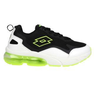 【LOTTO】23-25.5CM_男女大童氣墊慢跑鞋-童鞋 避震 運動 白黑螢光綠(LT0AKR2205)