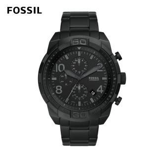 【FOSSIL】Bronson 極簡黑計時手錶 男款 黑色不鏽鋼鍊帶 50mm FS5712