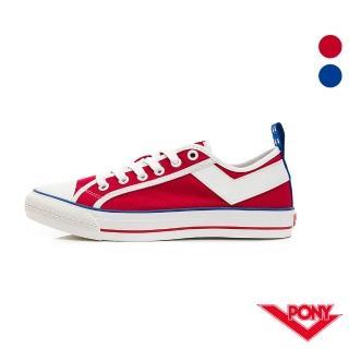 【PONY】Shooter系列低筒帆布鞋 女款 美國配色 藍 紅