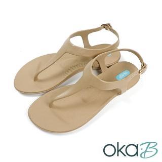 【oka-B】經典夏日素色夾腳T字涼鞋 淺棕色(K418CA-BR)