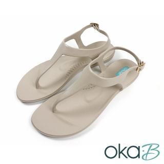 【oka-B】經典夏日素色夾腳T字涼鞋 象牙色(K418CA-LGRY)
