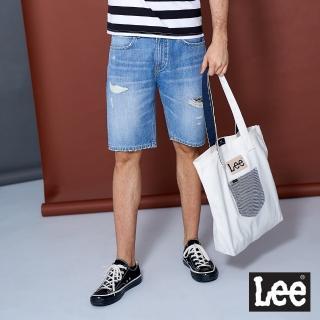 【Lee】902 個性刷破 男牛仔短褲-淺藍