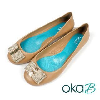 【oka-B】雙層寬蝴蝶結造型配飾平底娃娃鞋 咖啡色(K0527MA-BR)