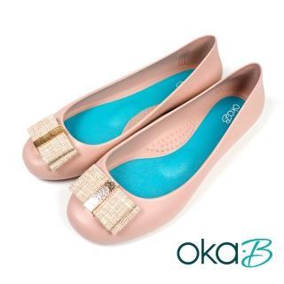 【oka-B】雙層寬蝴蝶結造型配飾平底娃娃鞋 淺粉色(K0527MA-LPIN)