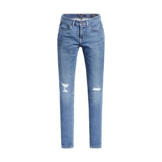 【LEVIS】女款 Revel中腰緊身提臀牛仔長褲 / 精緻刷破工藝 / 輕藍染水洗-熱銷單品