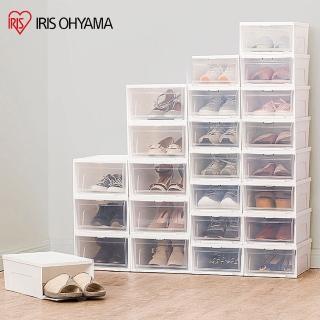 【IRIS】6入透明收納鞋盒 NSB340(可疊加/掀蓋式/收納鞋盒/鞋類/收納/組裝)