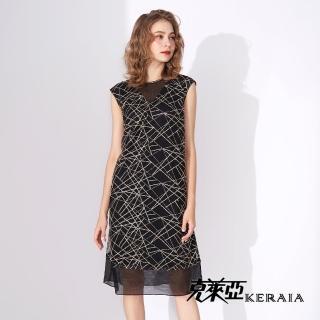 【KERAIA 克萊亞】光點連結透膚背心洋裝