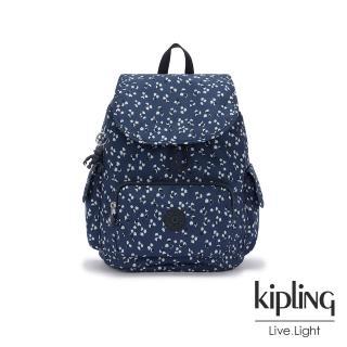 【KIPLING】手繪花朵圖騰拉鍊掀蓋後背包-CITY PACK S