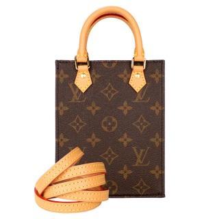 【Louis Vuitton 路易威登】PETIT SAC PLAT 迷你手提斜背包(印花棕)