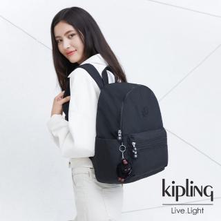 【KIPLING】質感黑拉鍊後背包-BOUREE