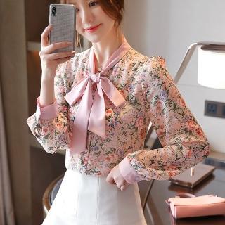 【白色戀人】甜美蝴蝶領氣質印花雪紡衫S-2XL(共二色)