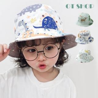 【OT SHOP】男女童帽子 漁夫帽 遮陽帽 盆帽 C5043(雙面設計 動物 森林 恐龍 星星  防曬 旅遊穿搭配件)