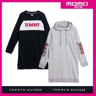 【Tommy Hilfiger】獨家白框紅字母LOGO/字母LOGO連帽修身洋裝/長版大學T(2款任選)