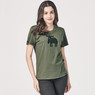【moz】moz瑞典 駝鹿印花100%純棉短T 水草綠 女款(亞洲標準版)