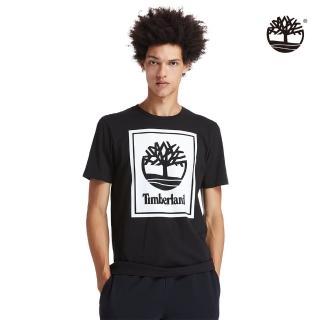 【Timberland】男款黑色大樹印花有機棉短袖圓領T恤(A2AJ1N92)