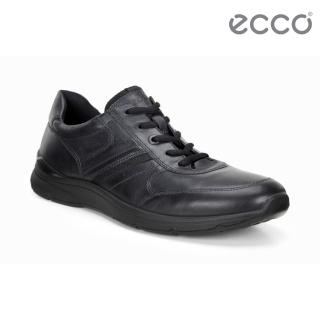 【ecco】IRVING 質感舒適皮革休閒鞋 男鞋(黑 51156402001)