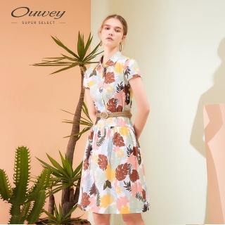 【OUWEY 歐薇】夏日印花純棉襯衫洋裝(白)