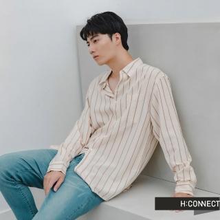 【H:CONNECT】韓國品牌 男裝 -雙色直條紋襯衫(卡其色)