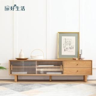 【hoi! 好好生活】原木日式奈良白橡木實木玻璃1.5M電視櫃 N0423
