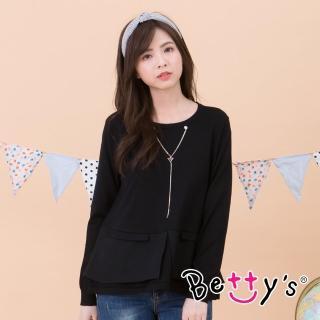 【betty's 貝蒂思】圓領鍊飾針織線衫(黑色)