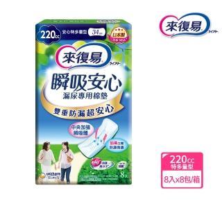 【來復易】瞬吸安心漏尿專用棉墊特多量型 8片/8包