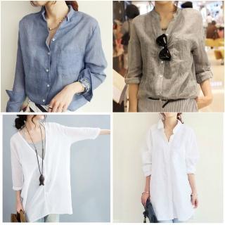 【ASister 小姊姊】韓系抗溫差棉麻襯衫罩衫(5款_8色_S-2XL)