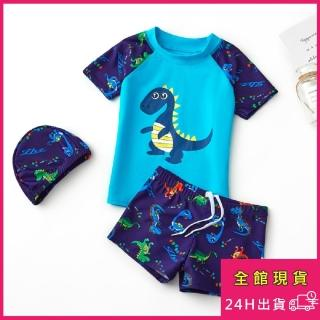 【AS 梨卡】兒童 泳衣 兒童泳裝 男生二件式 短袖短褲 泳褲 兩件式泳衣附泳帽CH690