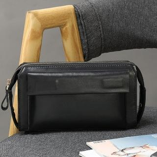 【布童帆想】復古頂級牛皮真皮中長款手拿包(男包)
