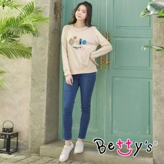 【betty's 貝蒂思】口袋設計鬆緊牛仔長褲(牛仔藍)