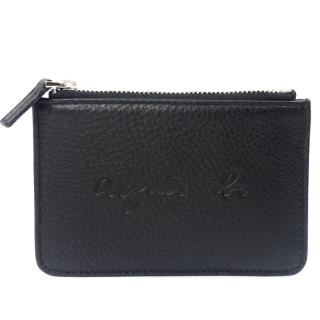 【agnes b.】VOYAGE 草寫字母壓印LOGO牛皮鑰匙零錢包(黑)