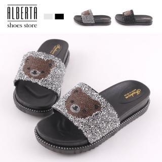 【Alberta】3.5cm拖鞋 可愛小熊水鑽 圓頭厚底居家拖鞋 室內拖鞋 防水台