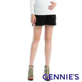 【Gennies 奇妮】絨布小碎花孕婦短褲(黑C4A52)