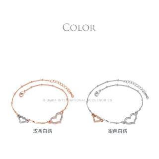 【GIUMKA】心連心腳鍊 精鍍玫瑰金 名媛淑女款 單個價格 ML04019(玫金款)