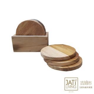 【吉迪市柚木家具】原木杯墊6個 含收納盒 LT-070A(墊子 防燙墊 木質杯墊 加厚杯墊 北歐風)
