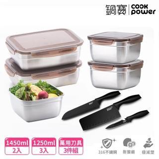 【CookPower 鍋寶】316不鏽鋼保鮮盒傳奇8入組(EO-BVS141108Z353Z3)