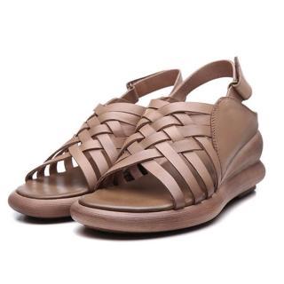 【Sp house】純真畫家厚底增高雙層真牛皮羅馬涼鞋(卡其色)
