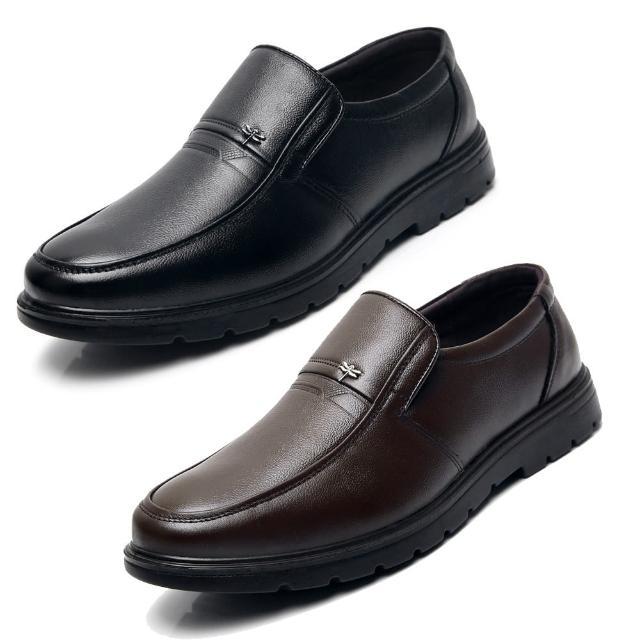 【Taroko】自信人生圓頭商務套腳防滑真皮鞋(2色可選)/