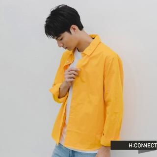 【H:CONNECT】韓國品牌 男裝 -活力純色排扣棉襯衫(黃色)