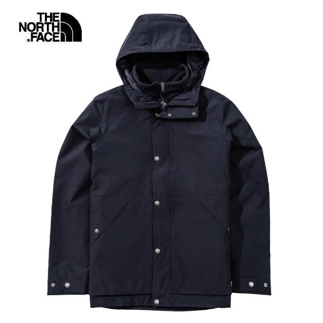 【The North Face】The North Face北面男款深藍色防水透氣連帽三合一外套|4NGYTE3