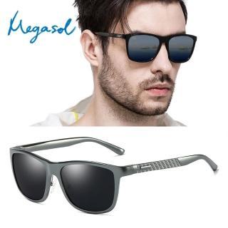 【MEGASOL】UV400防眩偏光太陽眼鏡時尚男女中性大框墨鏡(鋁鎂合金矩方框XD-8587-多色選)