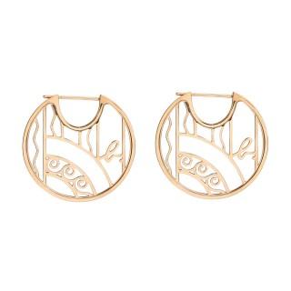 【agnes b.】Rue Dieu 鏤空設計玫瑰金耳環(針式)