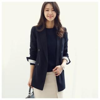 【ASister 小姊姊】早秋韓版雙排釦顯瘦西裝風衣外套(2色_S-2XL)
