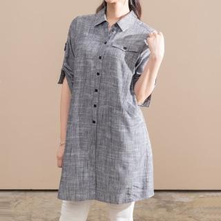 【FIORE 花蕾】時尚天絲麻美學長版上衣