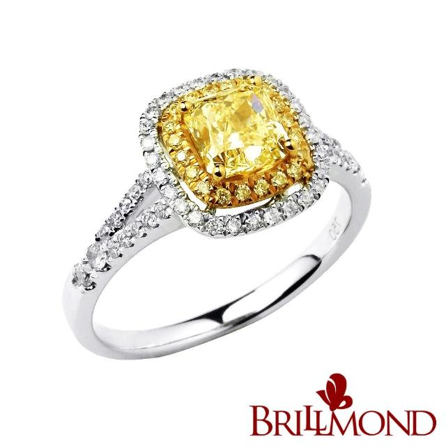【BRILLMOND JEWELRY】臻藏極致1克拉黃彩鑽戒(Fancy Light Yellow/VS2 18K金台)