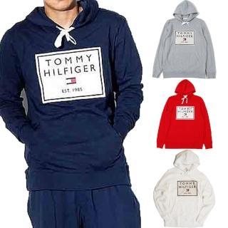 【Tommy Hilfiger】貼布繡大logo 長袖帽T 連帽外套 情侶款 男女生帽T(深藍/灰/白/紅)