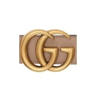 【GUCCI 古馳】經典仿舊金色金屬雙G LOGO滑面小牛皮細版釦式 腰帶/皮帶(多色選)
