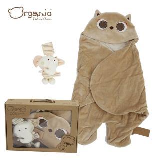 【Oragnic】有機棉超值2件式禮盒-貓頭鷹包巾+大象音樂鈴/嬰兒包巾禮盒(禮盒裝)
