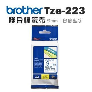 【brother】TZe-223 護貝標籤帶(9mm 白底藍字)