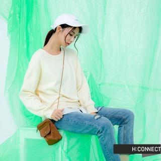 【H:CONNECT】韓國品牌 女裝 -純色假兩件拼接上衣(黃色)